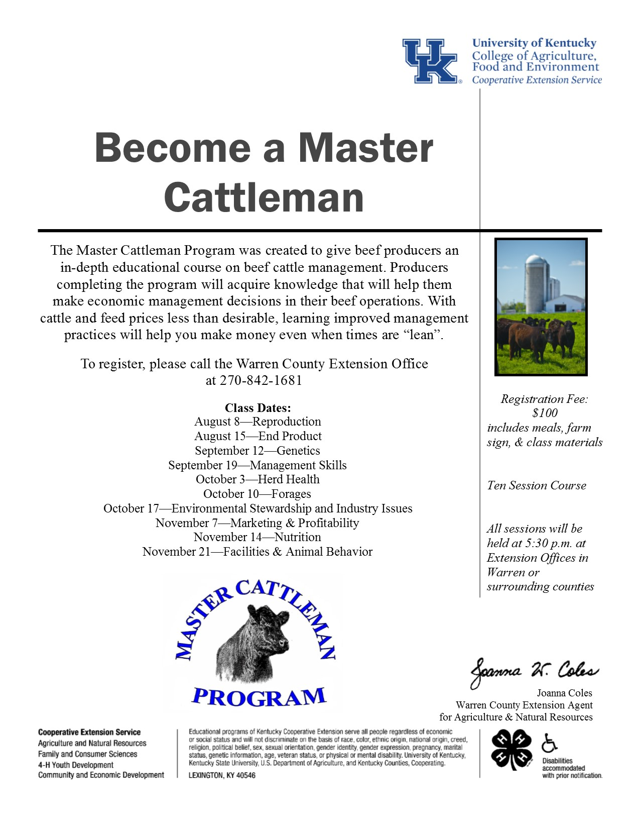 Become a Master Cattlemen! | Warren County Agriculture